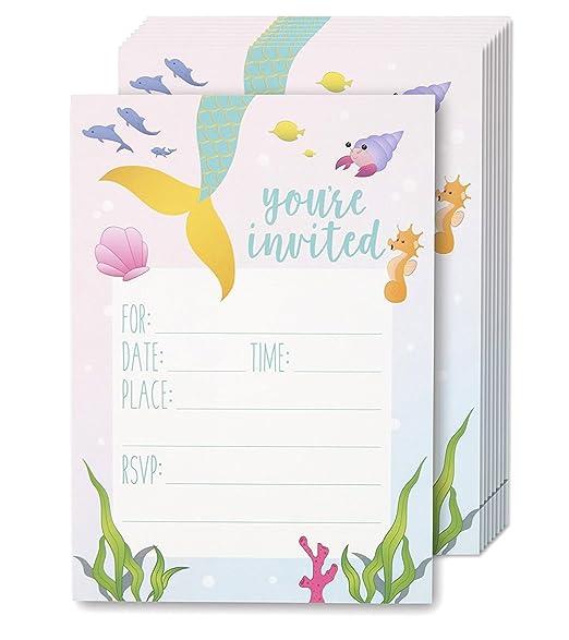 Juvale - Invitaciones para fiesta de sirena – 24 invitaciones con sobres para niños cumpleaños y baby shower, 12,7 x 17,8 cm, estilo postal