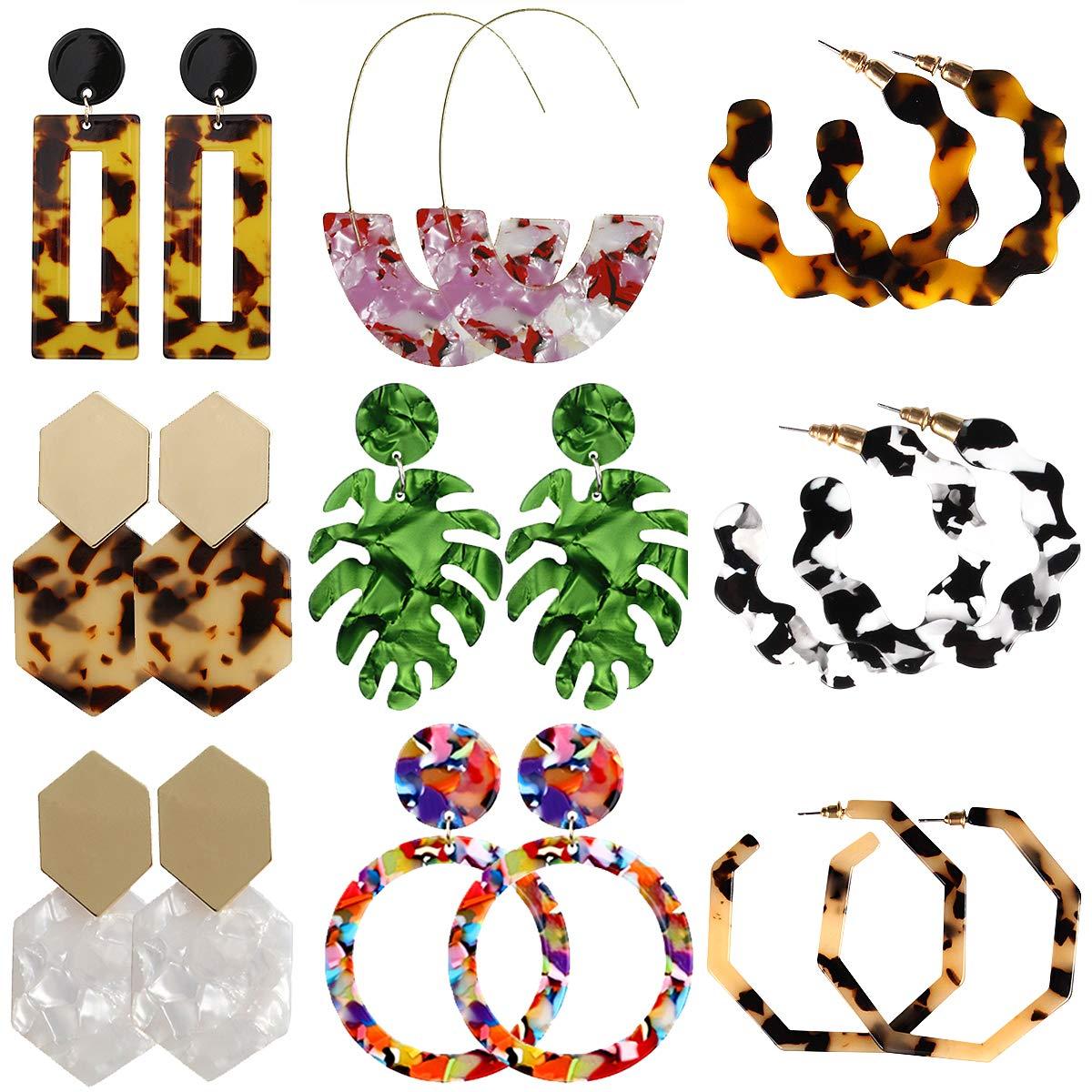 2 Pairs Acrylic Resin Hoop Dangle Earrings for Women Girls Bohemian Statement Resin Earring Jewelry