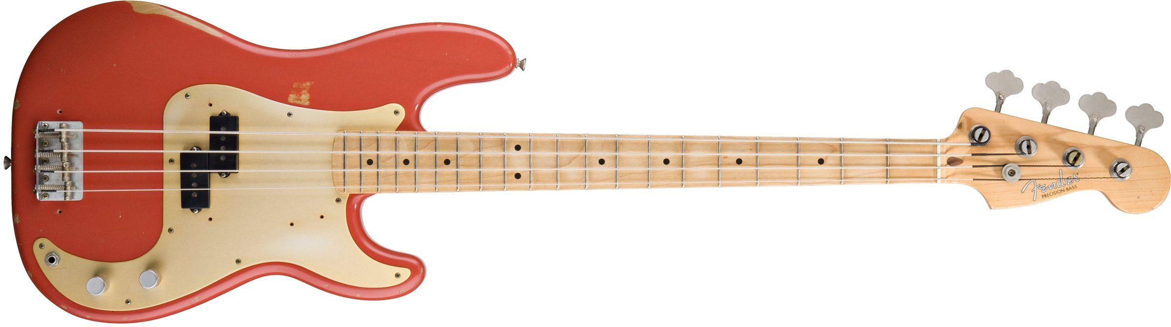 Fender Road Worn '50s Precision Electric Bass Guitar, Maple Fretboard, Gold Anodized Aluminum Pickguard - Fiesta Red