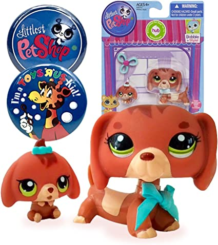 Amazon Com Littlest Pet Shop Pet Dachshund And Baby Dog 3601 With Lps And Toys R Us Kid Exclusive Party Favor Souvenir Collectible Pins Toys Games