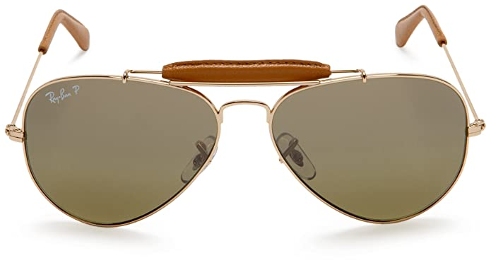 01c825025b Amazon.com  Ray-Ban AVIATOR CRAFT - ARISTA LIGHT BROWN LEATH Frame GREEN  GRADIENT BLUE+ POLAR AR Lenses 58mm Polarized  Ray-Ban  Clothing