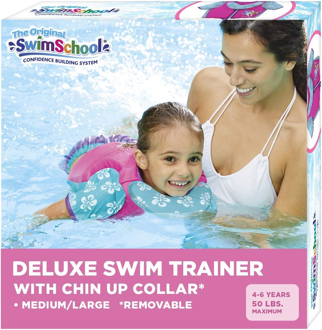 Swim Trainer Vest with UPF50 Shoulder Sleeves, Stretchable Fabric, Flex-Form Design, Adjustable Safety Strap, Medium/Large, Up to 50 Lbs., Pink/Aqua