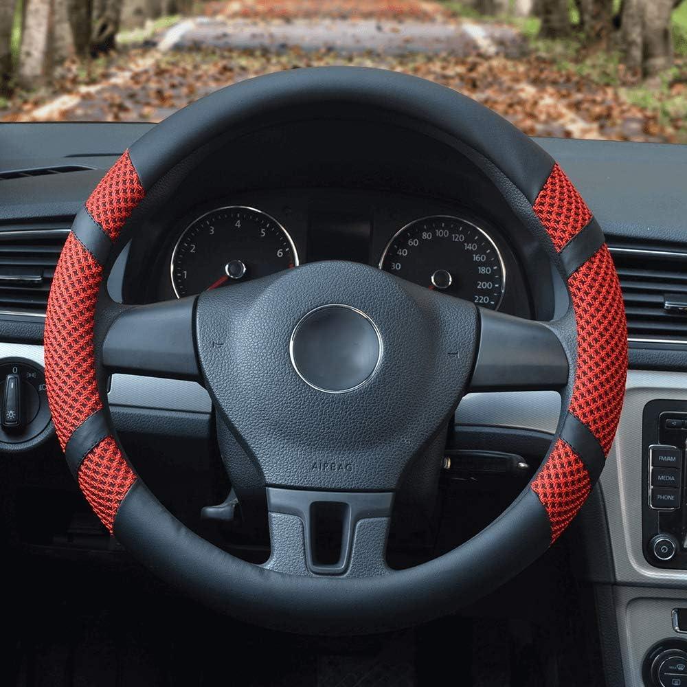 Red 14 Steering Wheel Cover Summer Ice silk Breathable Sweat Anti-Slip Odor-Free