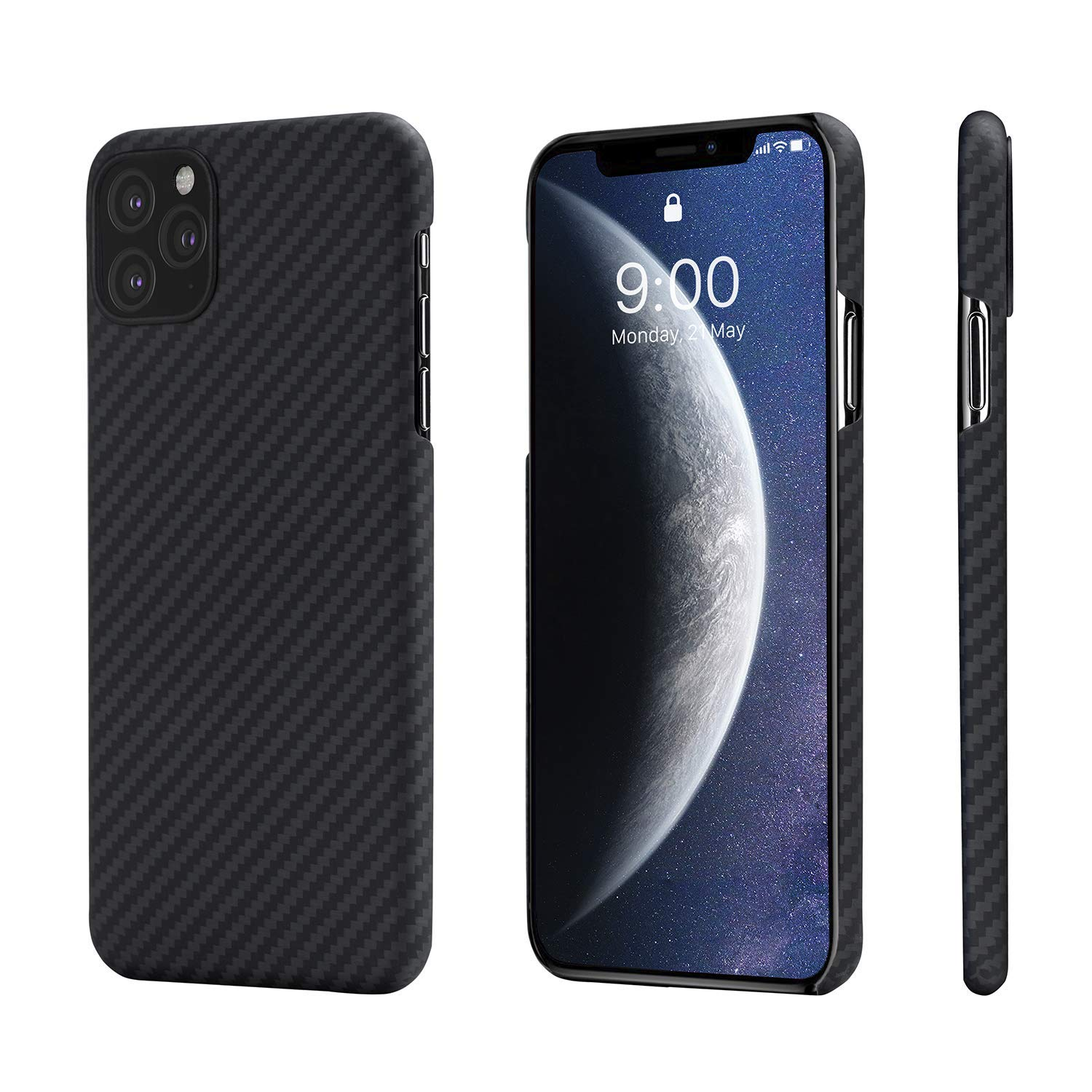 PITAKA Slim Case Compatible with iPhone 11 Pro Max 6.5'', MagCase Aramid Fiber [Real Body Armor Material] Phone Case, Minimalist Strongest Durable Snugly Fit Snap-on Case - Black/Grey(Twill) by PITAKA