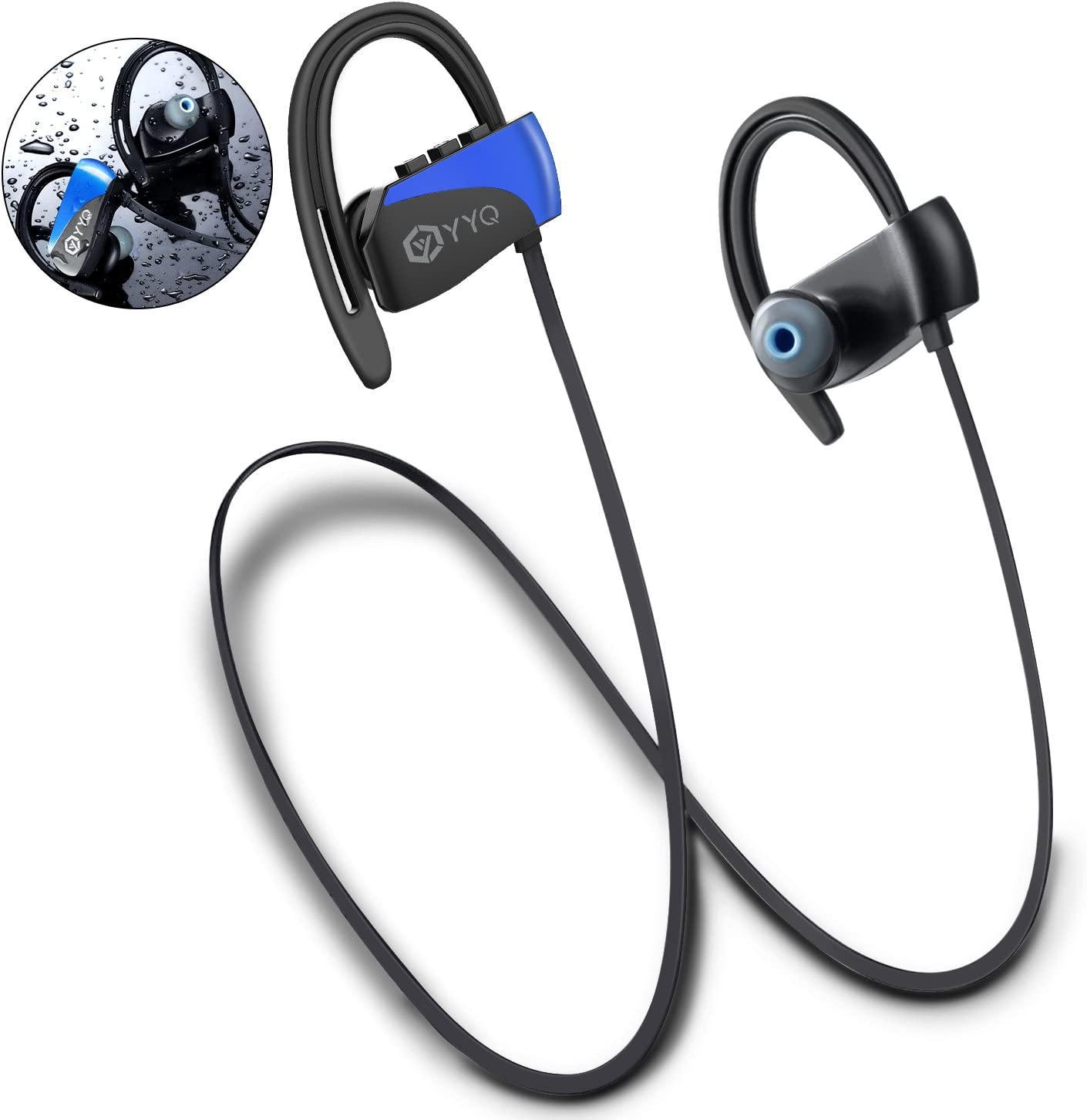 Bluetooth Headphones, M3 Wireless Sports Headset with Mic Waterproof Earphones HD Stereo Sweatproof Earbuds with Carring Case for Gym Running Workout 12 Hour Noise Cancelling (Blue)
