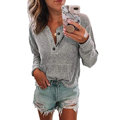 iChunhua Womens Button Down Pullover Long Sleeve Knit Loose Solid Color Sweaters Blouses Top at Women's Clothing store