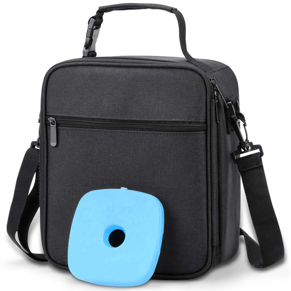 Insulated Lunch Bag Box with Ice Pack & Shoulder Strap for Men, Women, Boys, Adults, Waterproof Mens Lunch Cooler Bag for Work School - Black