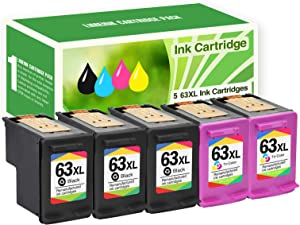 Limeink 5 Remanufactured Ink Cartridge 63XL 63 XL High Yield for HP Envy 4512 4520 Deskjet 3632 2130 2132 1110 3636 3637 1112 3630 3634 OfficeJet 3830 3833 4650 4652 4655 5255 5258 Printer Black Color