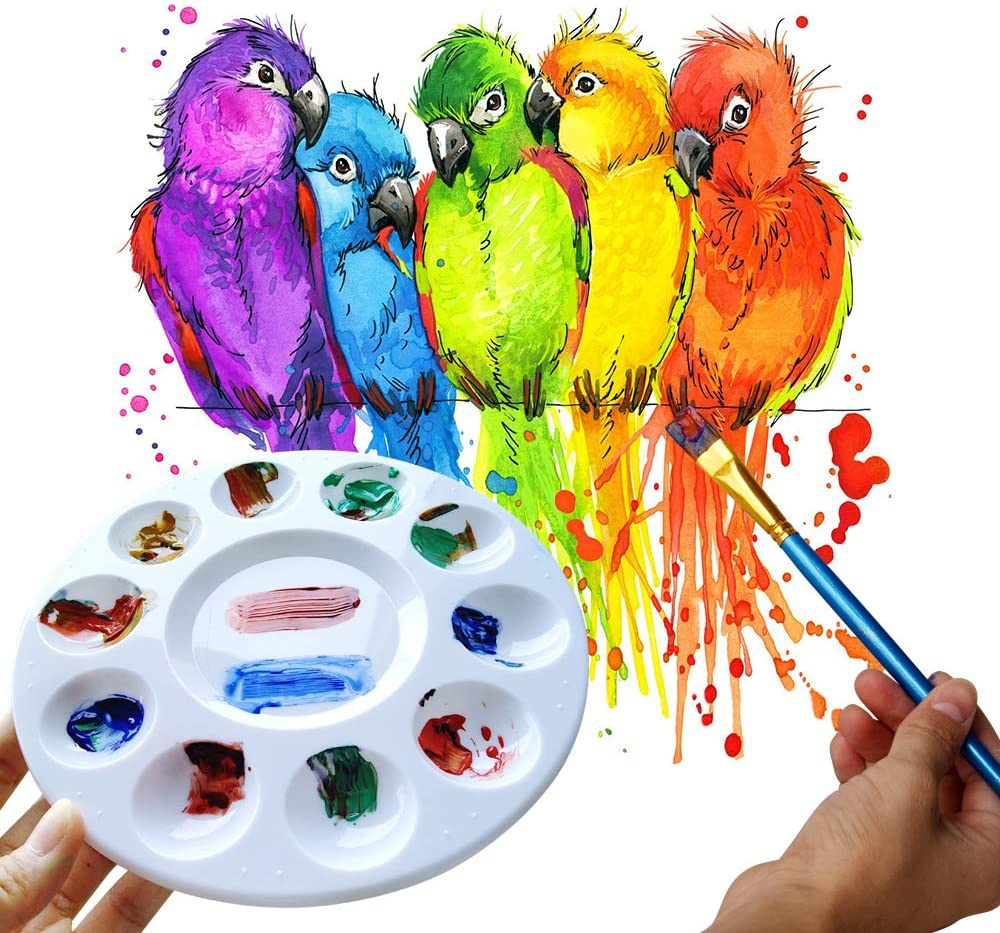 DIY Craft at Home Little Art Paint Tray Palette New Colors Plastic Pallet for Kids or Pupils to Painting Kindergarten or School-3Ps
