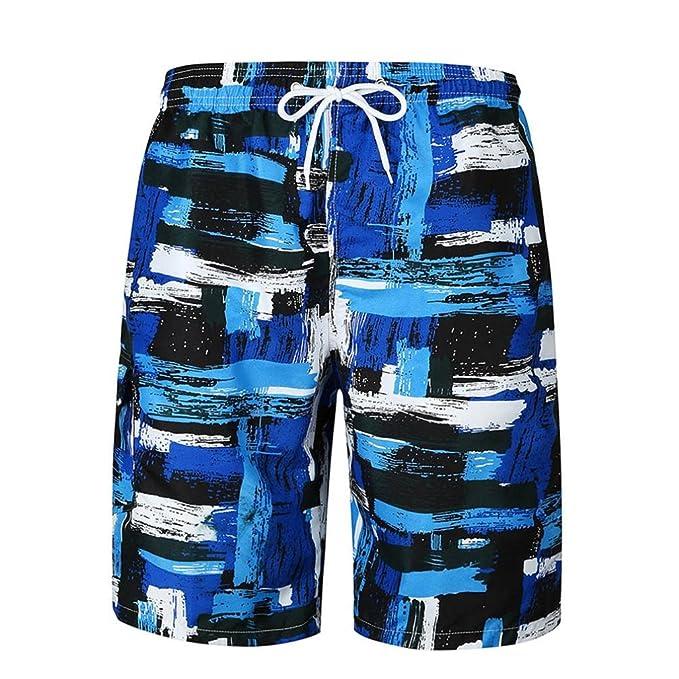 5019f9b18b234 Allywit Men Beach Pants Shorts Color Matching Boxer Swimming Trunks Swimwear  (M)