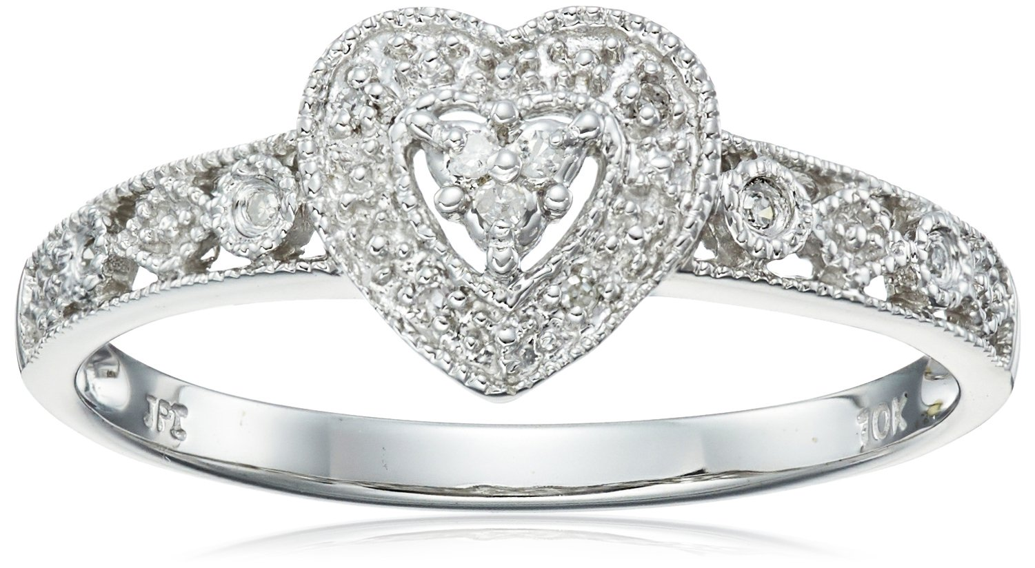 10k White Gold Diamond Heart Ring (0.03 cttw, I-J Color, I2-I3 Clarity), Size 7 by Amazon Collection