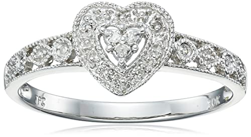 Review 10k Gold Diamond Heart Ring (0.04 cttw, I-J Color, I2-I3 Clarity)