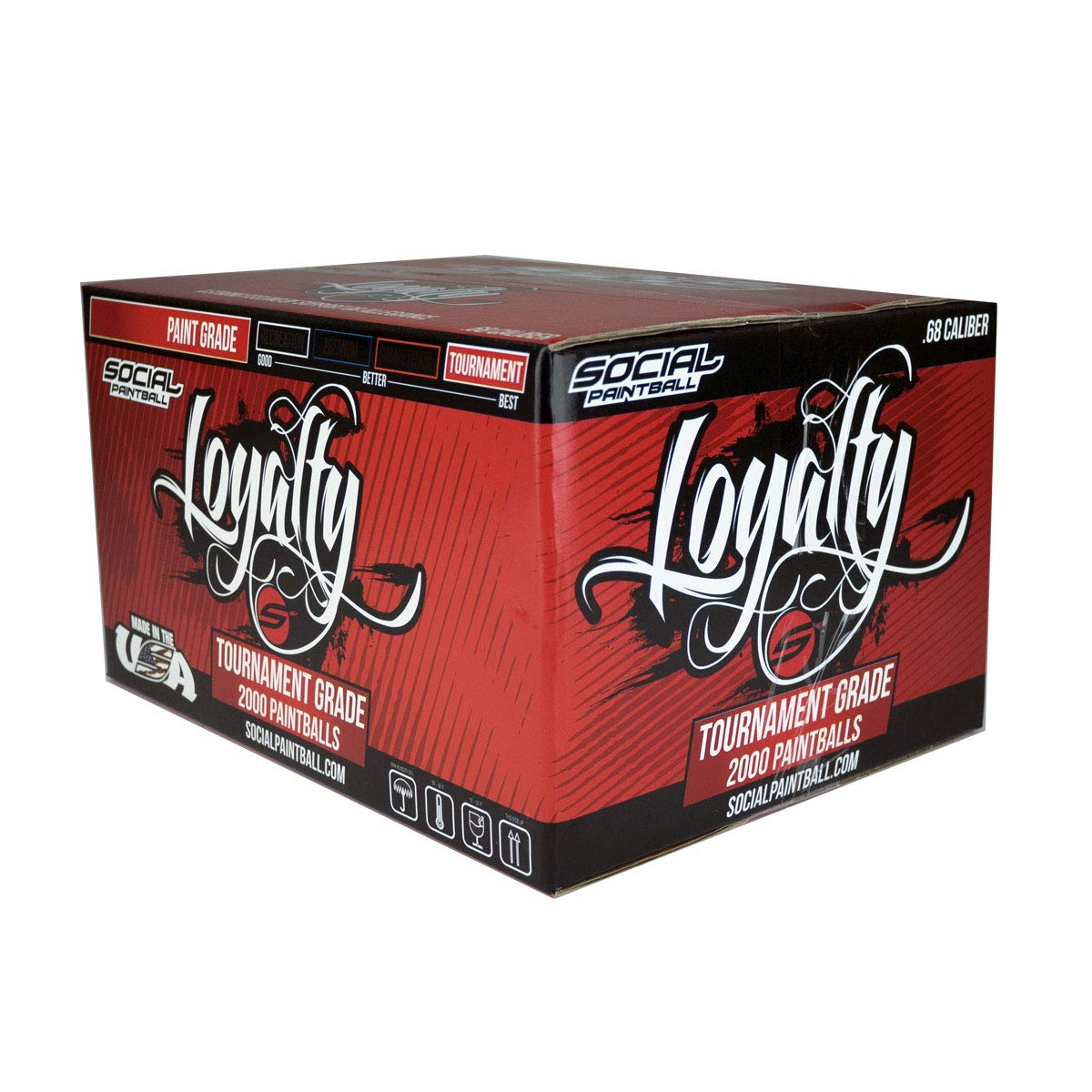 Social Paintball Loyalty Tournament Grade Paintballs - 68cal - 2,000ct (Red/Yellow Shell, Yellow Fill)