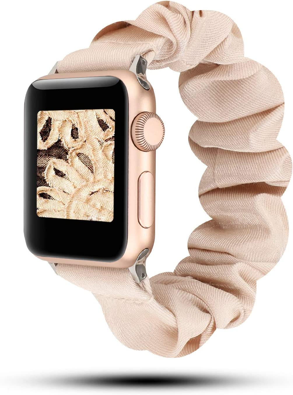 YOSWAN Cotton Elastic Scrunchies Band Compatible for Apple Smart Watch 5 Women Girls Stretchy Loop Strap Replacement for 40mm 44mm 38 42 iWatch Series 5/4/3/2/1 (Rose Gold, 38MM/40MM)