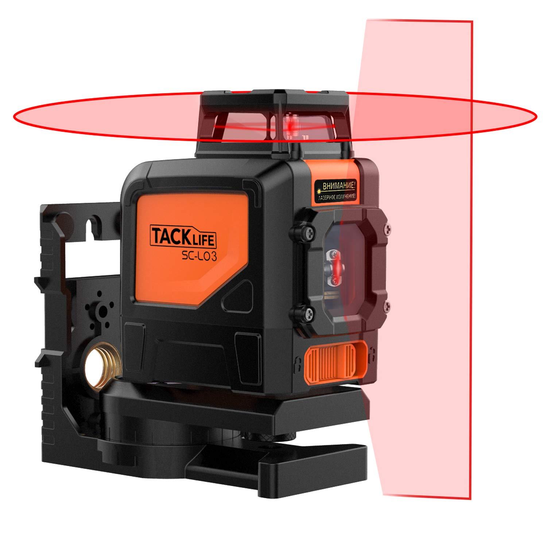 Tacklife SC L03 Livella Laser Classica a Croce con Gamma di Misurazione 30m e Funzione di Inclinazione, Linea Orizzontale a 360 Gradi