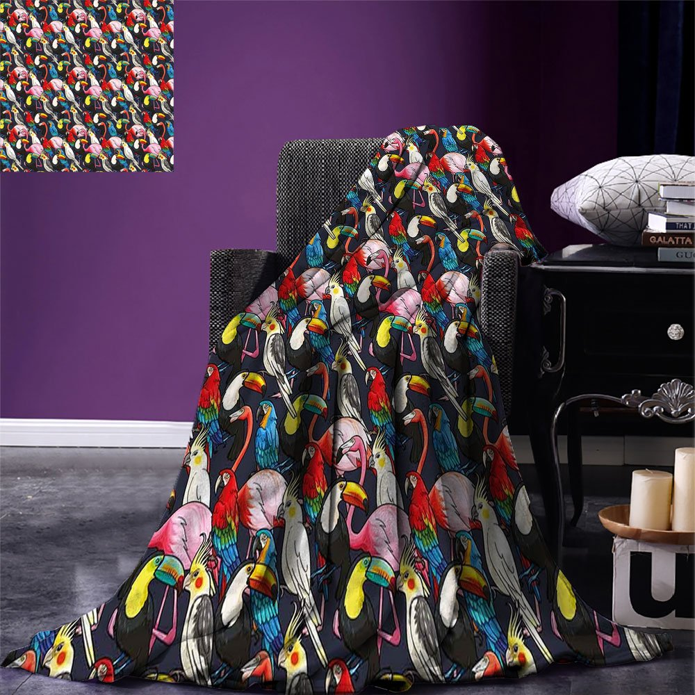 smallbeefly Animal Warm Microfiber All Season Blanket Colorful Exotic Birds Cockatoo Flamingo Macaw Parrot Toucan Tropic Wildlife Artwork Print Artwork Image,Multicolor, Multicolor