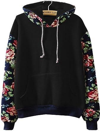 Cute Hoodies Sweater Pullover Warm Fleece Lined Flowers Sleeve at ...