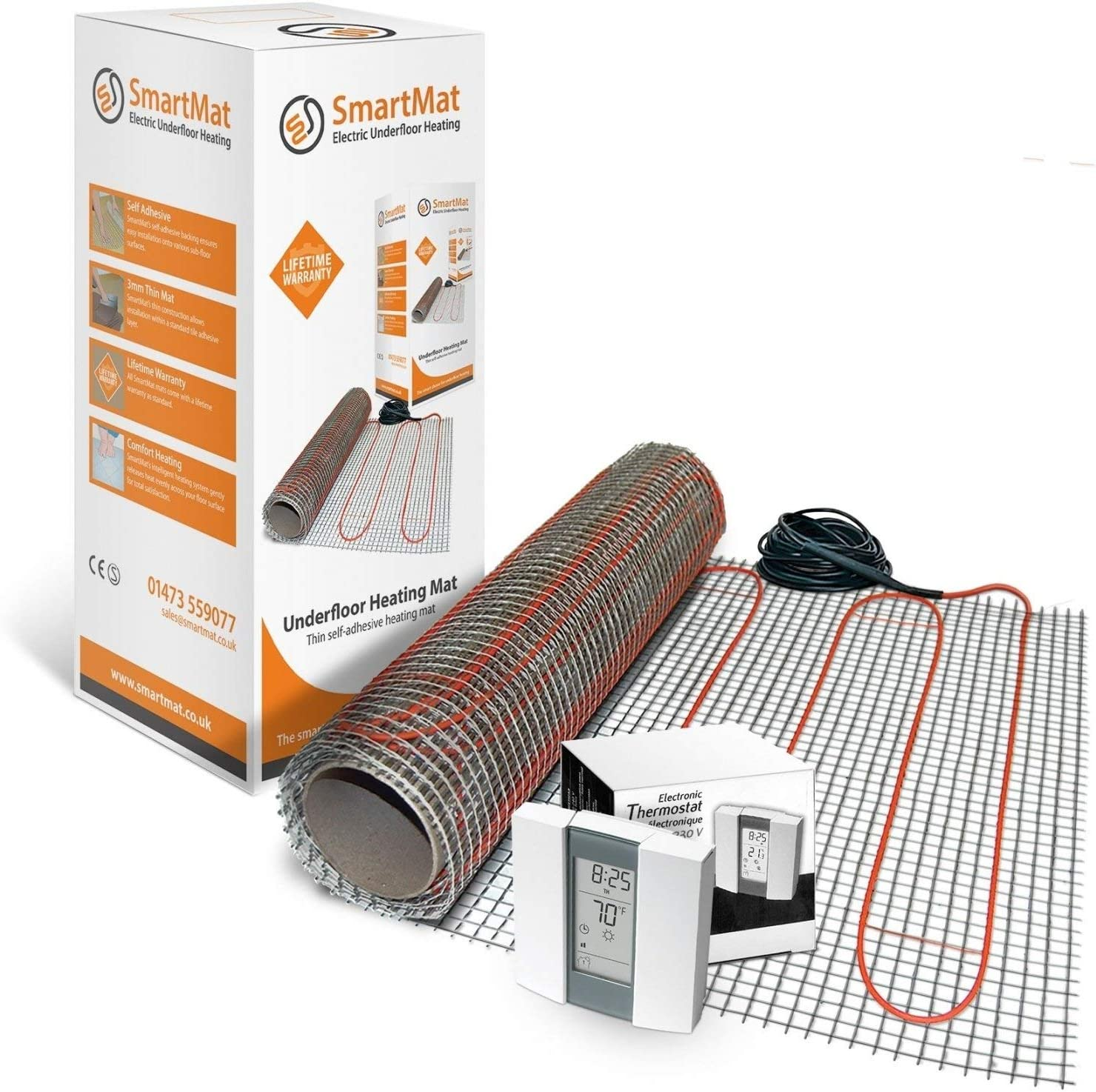 0.5m2 75w, Thermostat Choice - Aube TH232 Electric Underfloor Heating Mat Kit for Tiles 150 W//m/² All Sizes /& Thermostats Available
