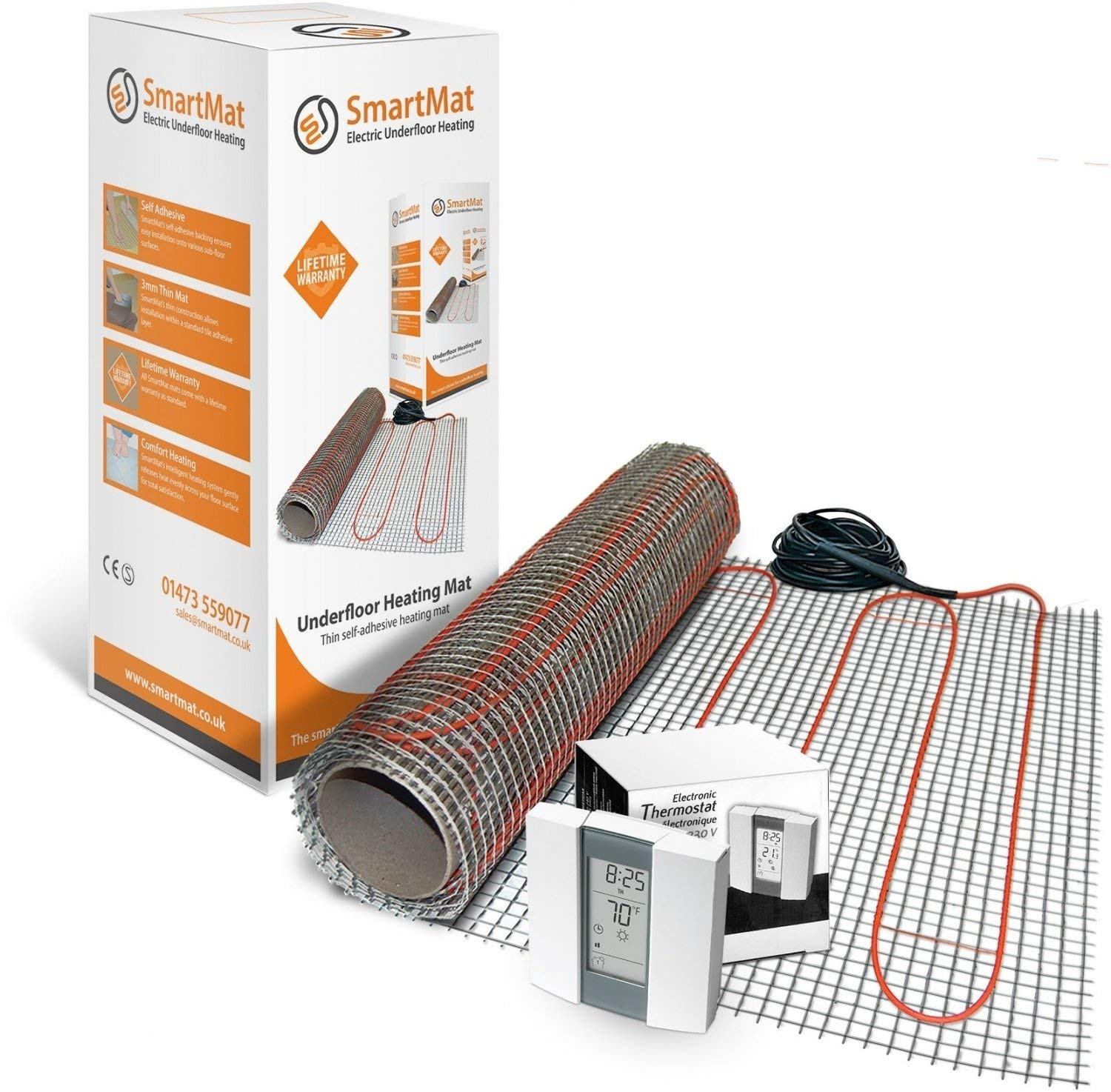 Electric Underfloor Heating Mat Kit for Tiles 150 W/m² - All Sizes & Thermostats Available (5.0m2 750w, Thermostat Choice - Harmoni 25)