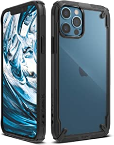 Ringke Fusion-X Case Compatible with iPhone 12, Compatible with iPhone 12 Pro, Clear Back Shockproof Heavy Duty Advanced TPU Bumper Phone Cover for 6.1-inch (2020) - Black