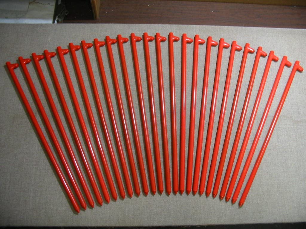 Monk Industries A 24 Pack of Metal Tent Stakes Orange 24 Long Heavy Duty