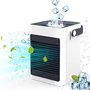 IOQSOF Cooler, Portable Conditioner Mini Fan Personal Noiseless Evaporative Air Humidifier-Home Kitchen Office Nightstand, White