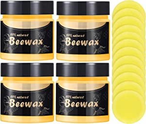 4 Pieces Wood Seasoning Beewax Traditional Beeswax Polish Multipurpose Natural Furniture Care Beeswax and 12 Pieces Sponges for Cleaning and Protecting Wooden Furniture