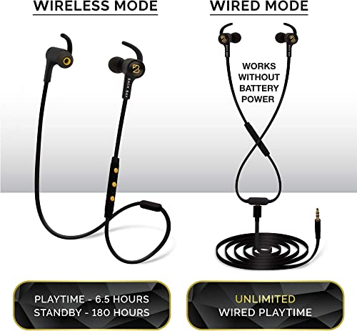 Back Bay 2-in-1 Wireless Wired Bluetooth Earbuds. Sweatproof Wireless Stereo Headphones with Microphone, 6 Earphone Tips, AUX Cable and Carrying Bag