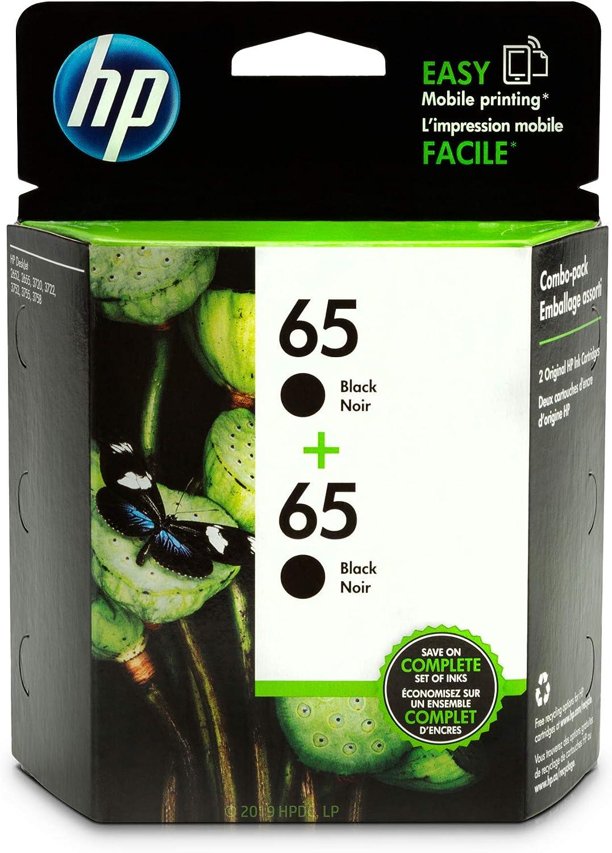 HP 65   2 Ink Cartridges   Black   Works with HP DeskJet 2600 Series, 3700 Series, HP ENVY 5000 Series, HP AMP 100, 120, 125, 130   N9K02AN