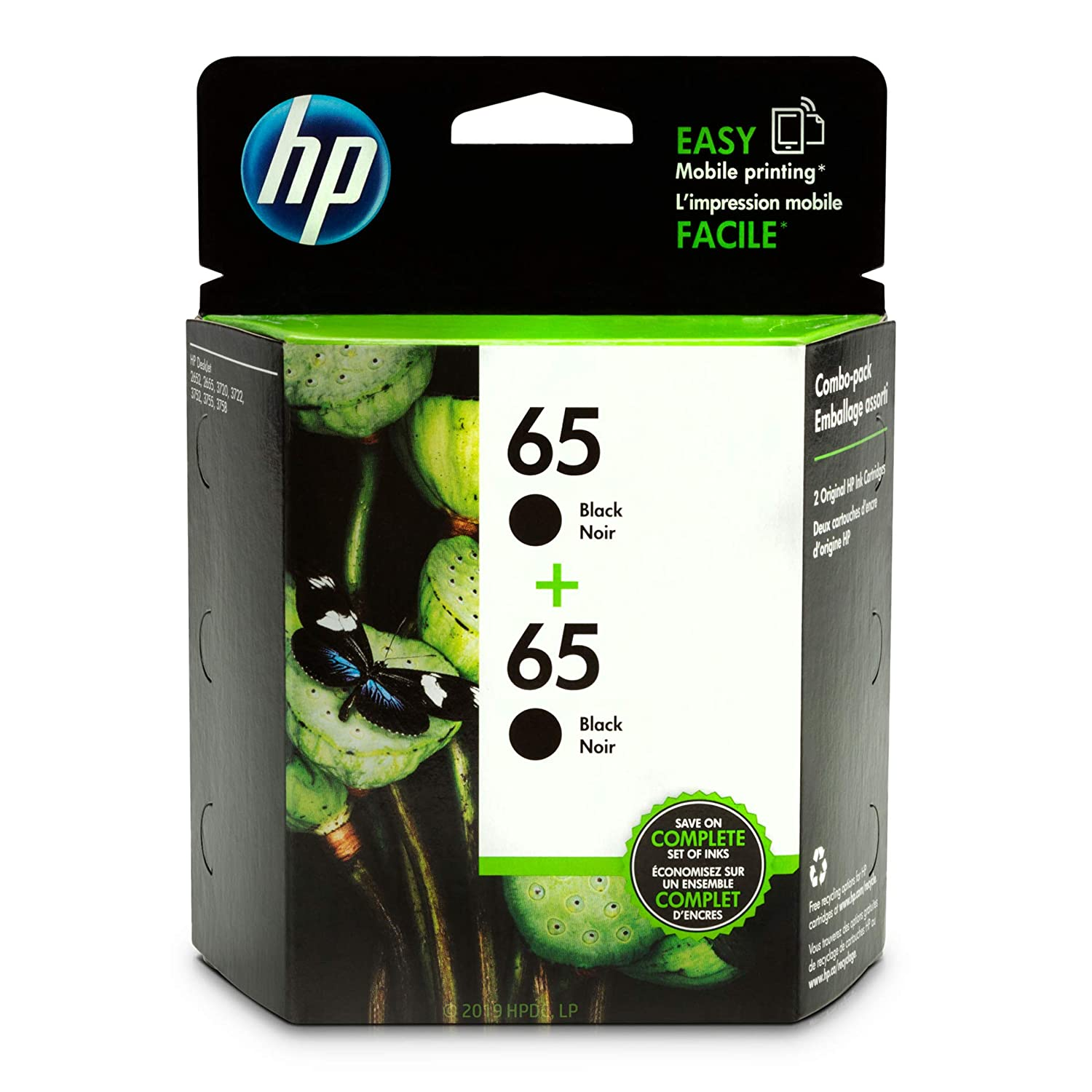 HP 65 Black Ink Cartridge (N9K02AN), 2 Cartridges (1VU22AN) for HP DeskJet 2624 2652 2655 3722 3752 3755 3758