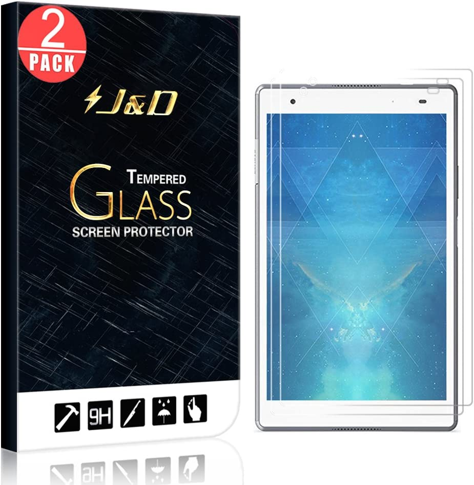 J&D Compatible for 2-Pack Lenovo Tab 4 8 Plus Glass Screen Protector, [Tempered Glass] [Not Full Coverage] Ballistic Glass Screen Protector for Lenovo Tab 4 8 Plus Screen Protector