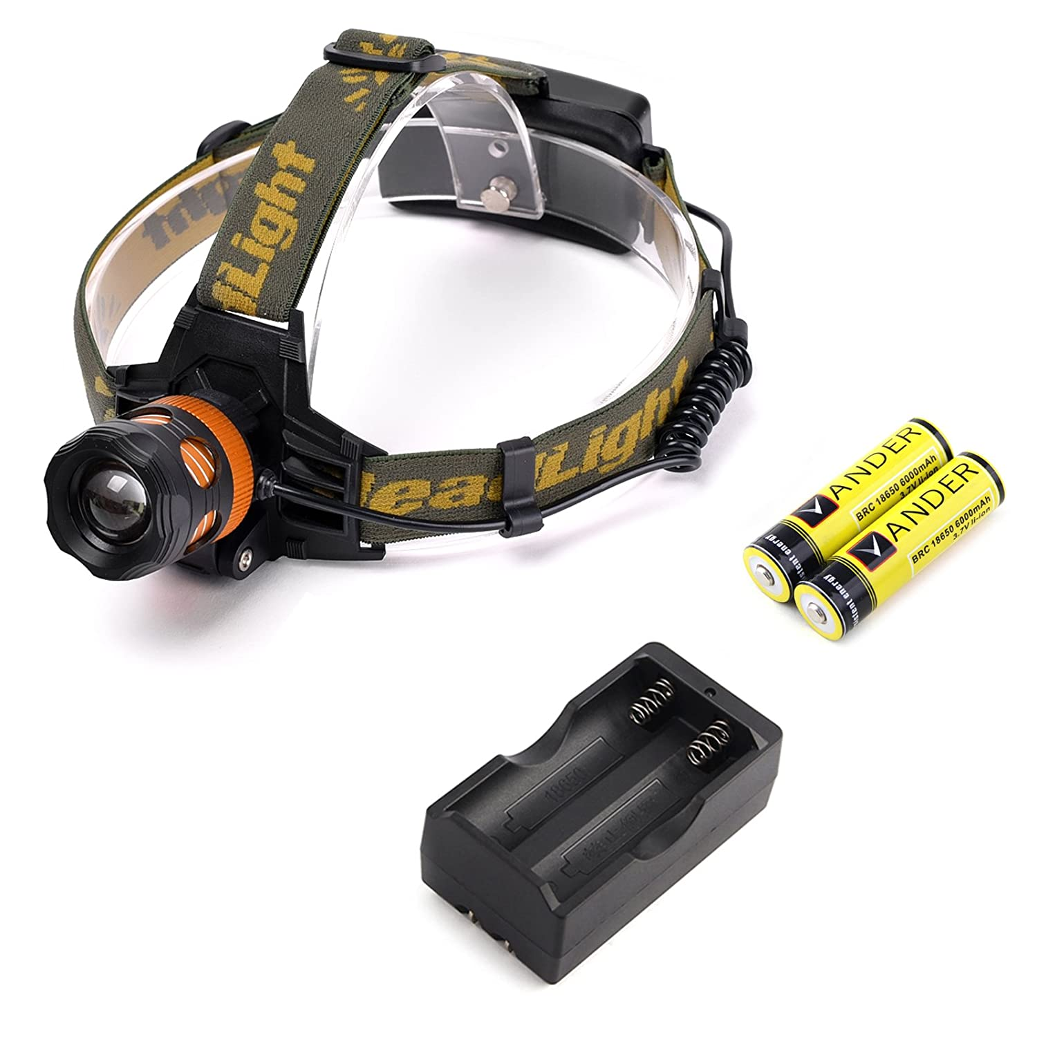 Free Shipping Vander 2000 Lumens Led Headlamp Zoomable 3
