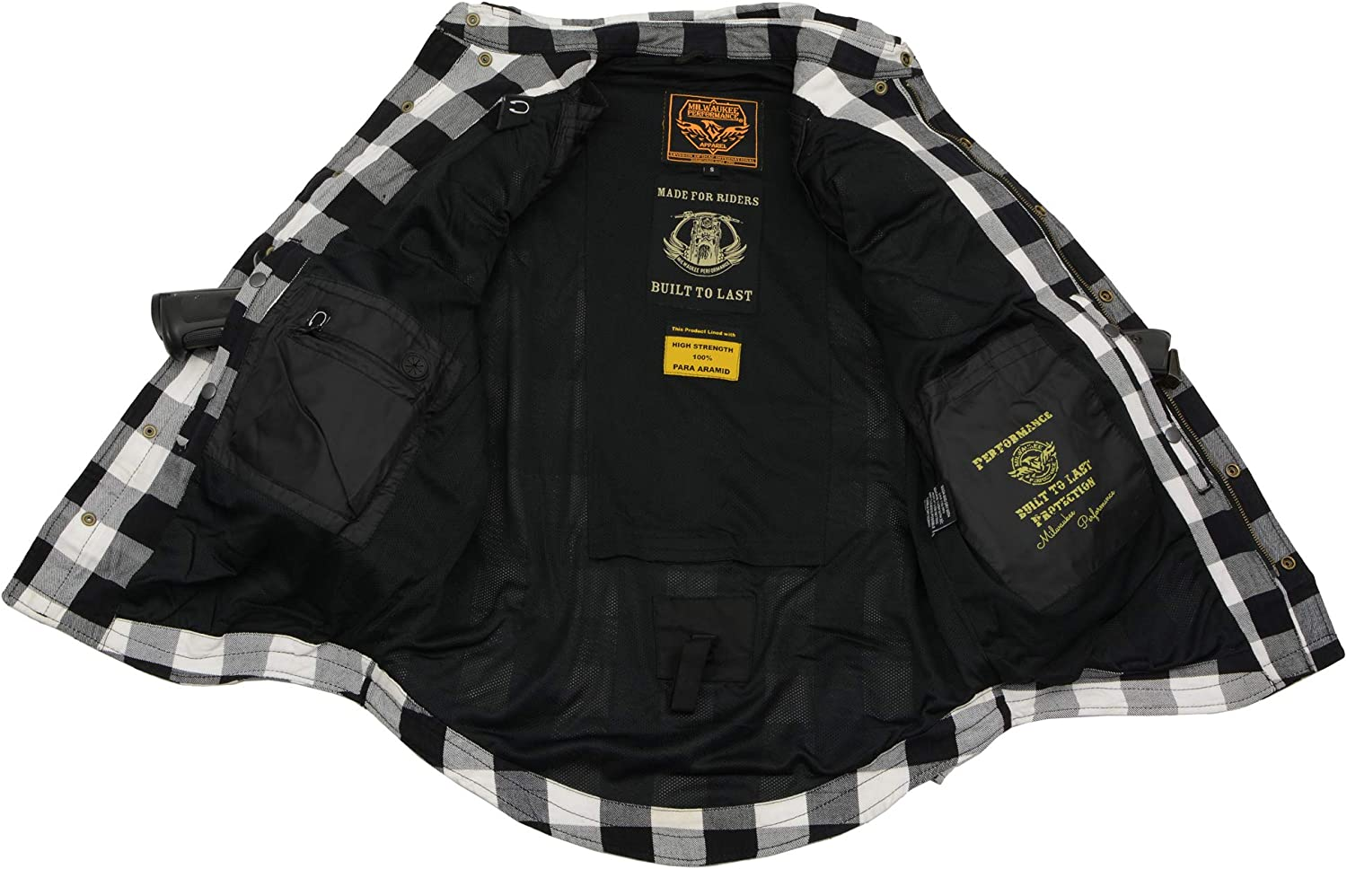 Milwaukee Leather MPM1633 Mens Armored Checkered Flannel Biker Shirt with Aramid by DuPont Fibers Blk//White 5X-Large