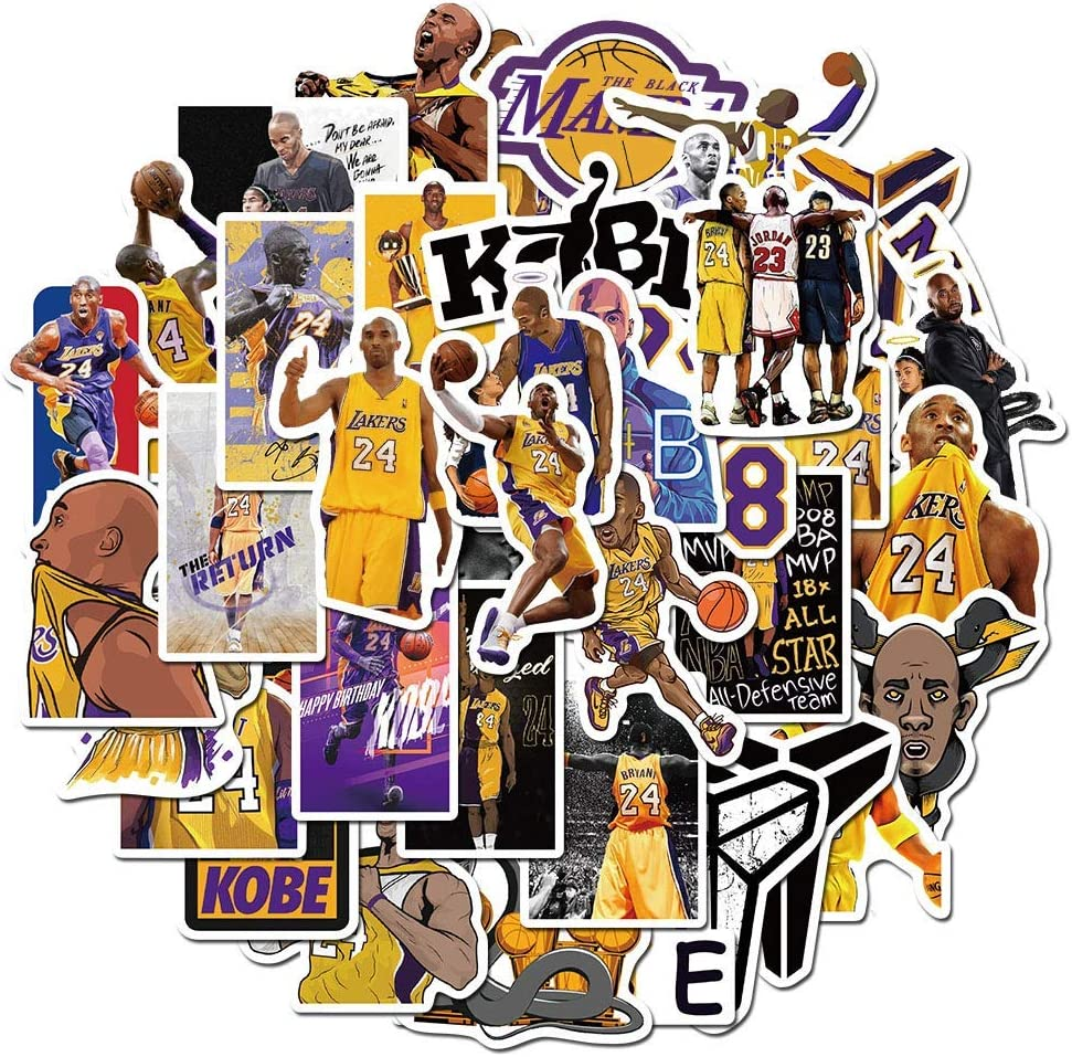 TSR Kobe Stickers for Basketball Star Stickers (50 Pieces) for Laptop, iPhone, Cars, Motorcycle, Bicycle, Skateboard Luggage, Bumper Stickers Hippie Decals Bomb Waterproof(R.I.P. )