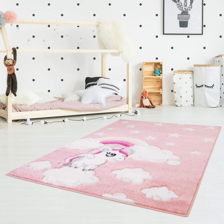 Carpet city Kinderteppich Flachflor Hochwertig Bueno mit Konturenschnitt, Glanzgarn mit Einhorn, Sterne, Regenbogen in Rosa für Kinderzimmer, Größe  140x200 cm