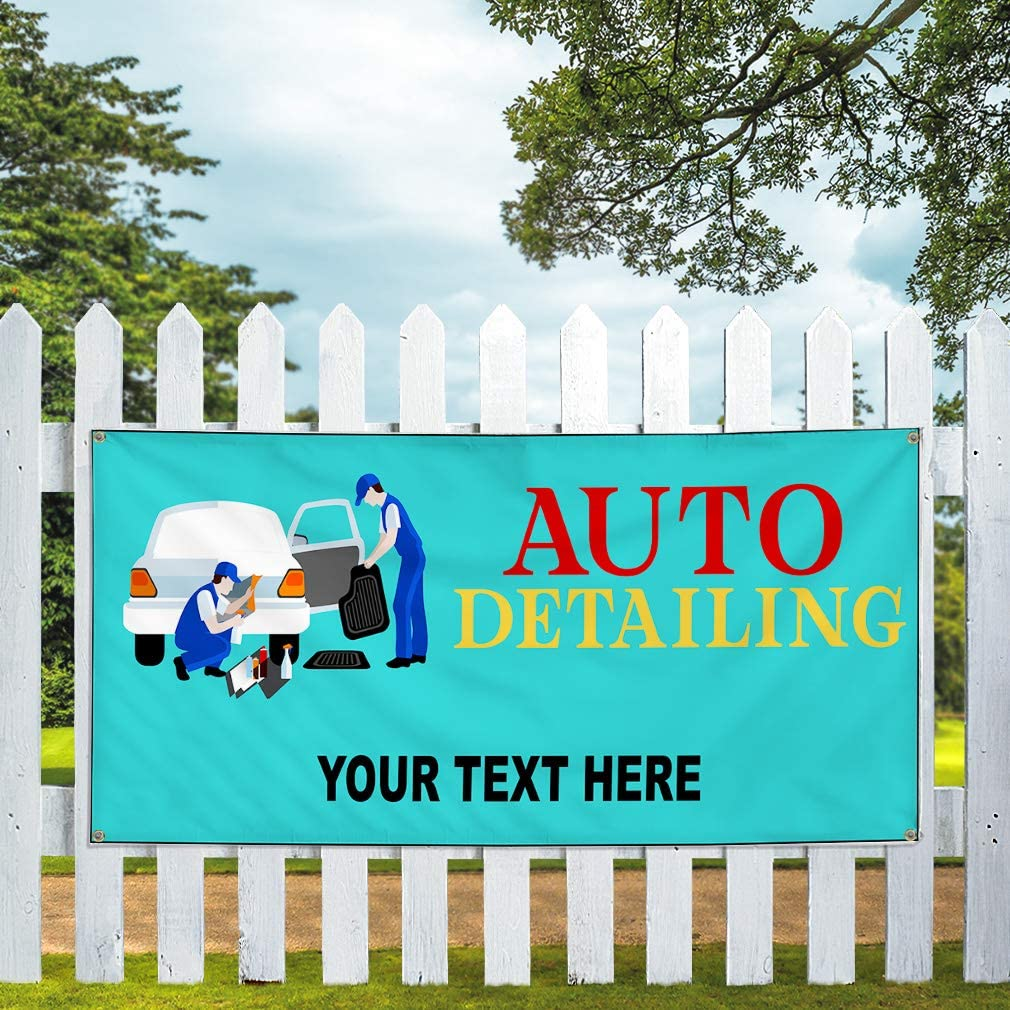 Custom Industrial Vinyl Banner Multiple Sizes Auto Detailing Style G Personalized Text Here Automotive Outdoor Weatherproof Yard Signs Red 10 Grommets 56x140Inches