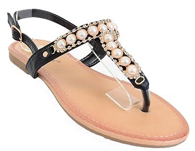 9efee2da4c8c Fourever Funky Pearls Jeweled Rhinestone T-Strap Flat Sandals 4 Colors  (5.5