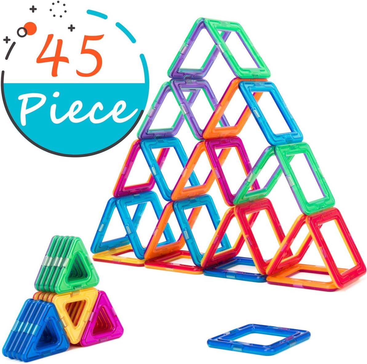 Cossy Magnet Tiles Building Block 45 Pcs, Magnetic Stick und Stack Satz für Girls und Boys, Perfect Stem Educational Toys für Kids Children, Multicoloured
