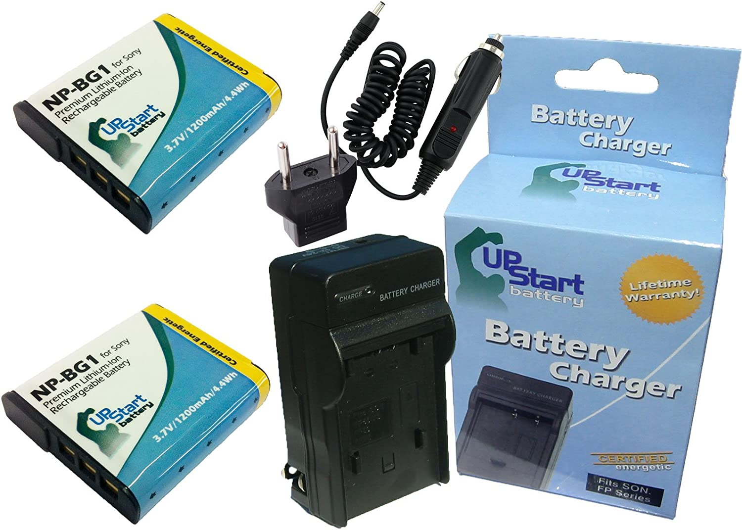 650mAh 3.7V Lithium-Ion Compatible with Sony NP-BN1 Digital Camera Batteries and Chargers Replacement for Sony Cybershot DSC-W610 Battery and Charger with Car Plug and EU Adapter