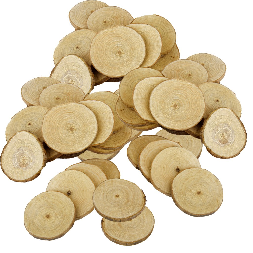 Jili Online 60 Pieces Natural Vintage Wood Wood Tree Pieces for Wedding Decoration Coasters 5-6cm by Jili Online (Image #1)