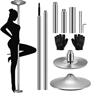 YUESUO Stripper Pole - 45mm Spinning Static Dance Pole for Home Portable Removable Dancer Pole Kit for Beginner Fitness Exercise Club Party Pub Home