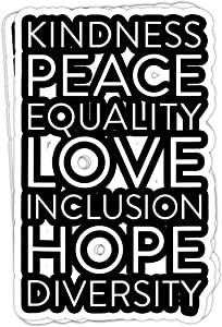 macknessfr Inclusion Kindness Diversity Peace Love Social Justice - 4x3 Vinyl Stickers, Laptop Decal, Water Bottle Sticker (Set of 3)