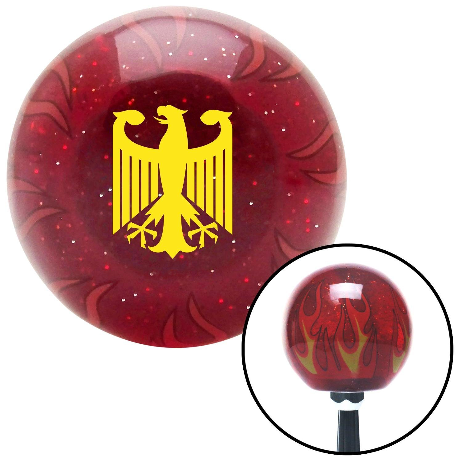 American Shifter 237200 Red Flame Metal Flake Shift Knob with M16 x 1.5 Insert Yellow Eagle Coat of Arms