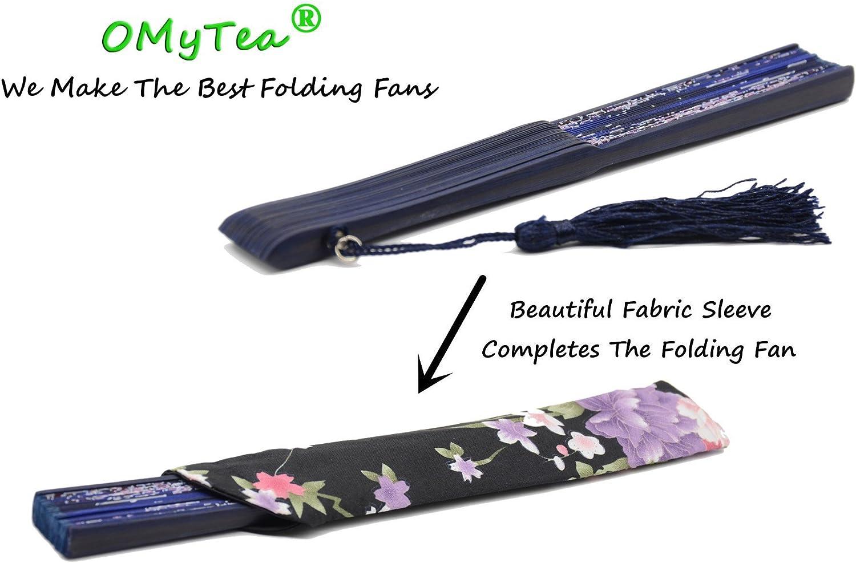 OMyTea Sakura /éventails pliants /à main en soi avec cadre en bambou chinois//japonais pour femme avec une manche en tissu pour protection Soie WZS-1