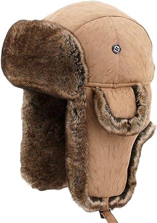 Siggi Bomber Chapeau de trappeur en fausse fourrure pour homme Coton chaud Ushanka Chapeau de chasse russe