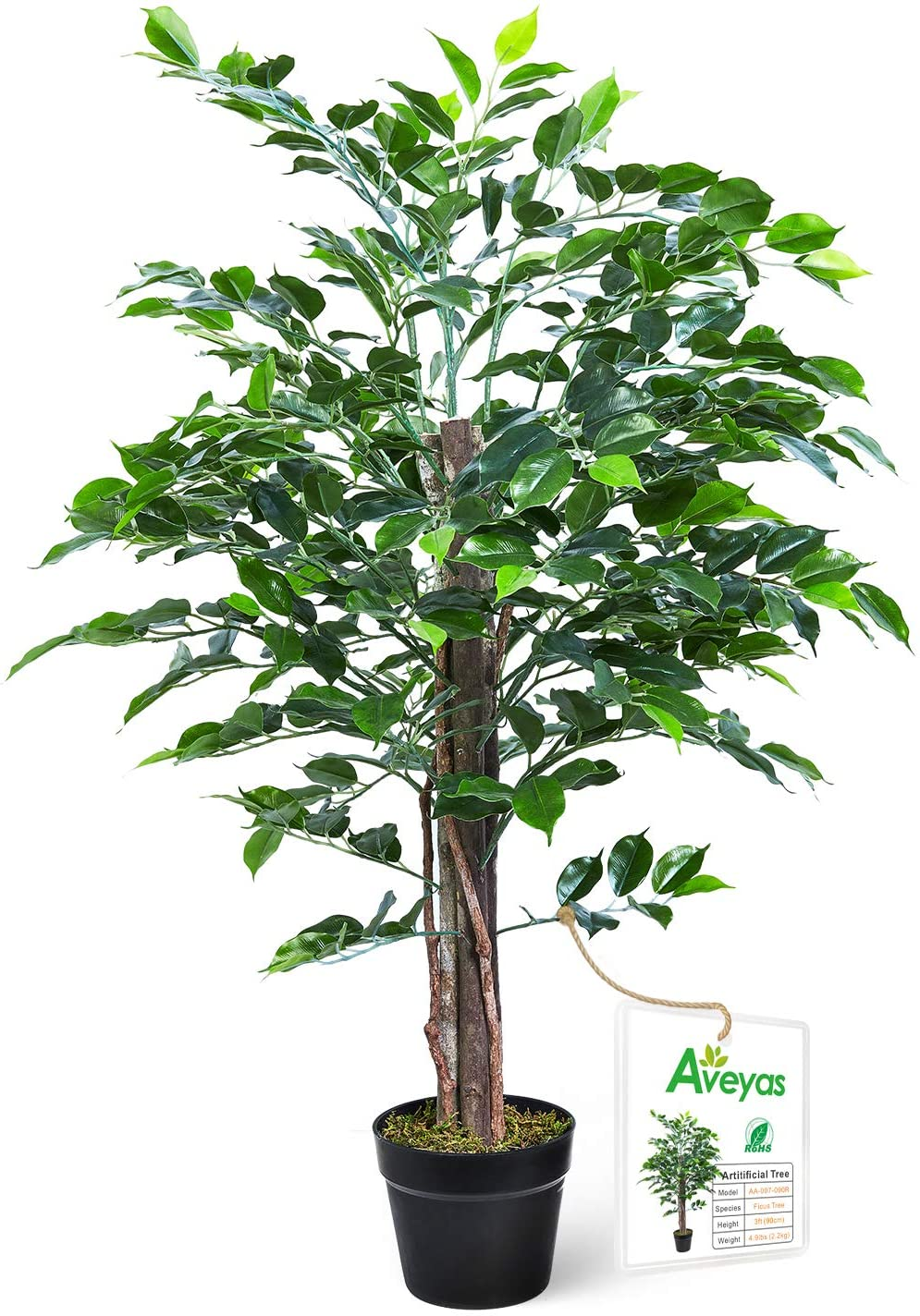 Aveyas 3ft Artificial Ficus Silk Tree in Plastic Nursery Pot, Fake Plant for Office House Farmhouse Living Room Home Decor (Indoor/Outdoor)