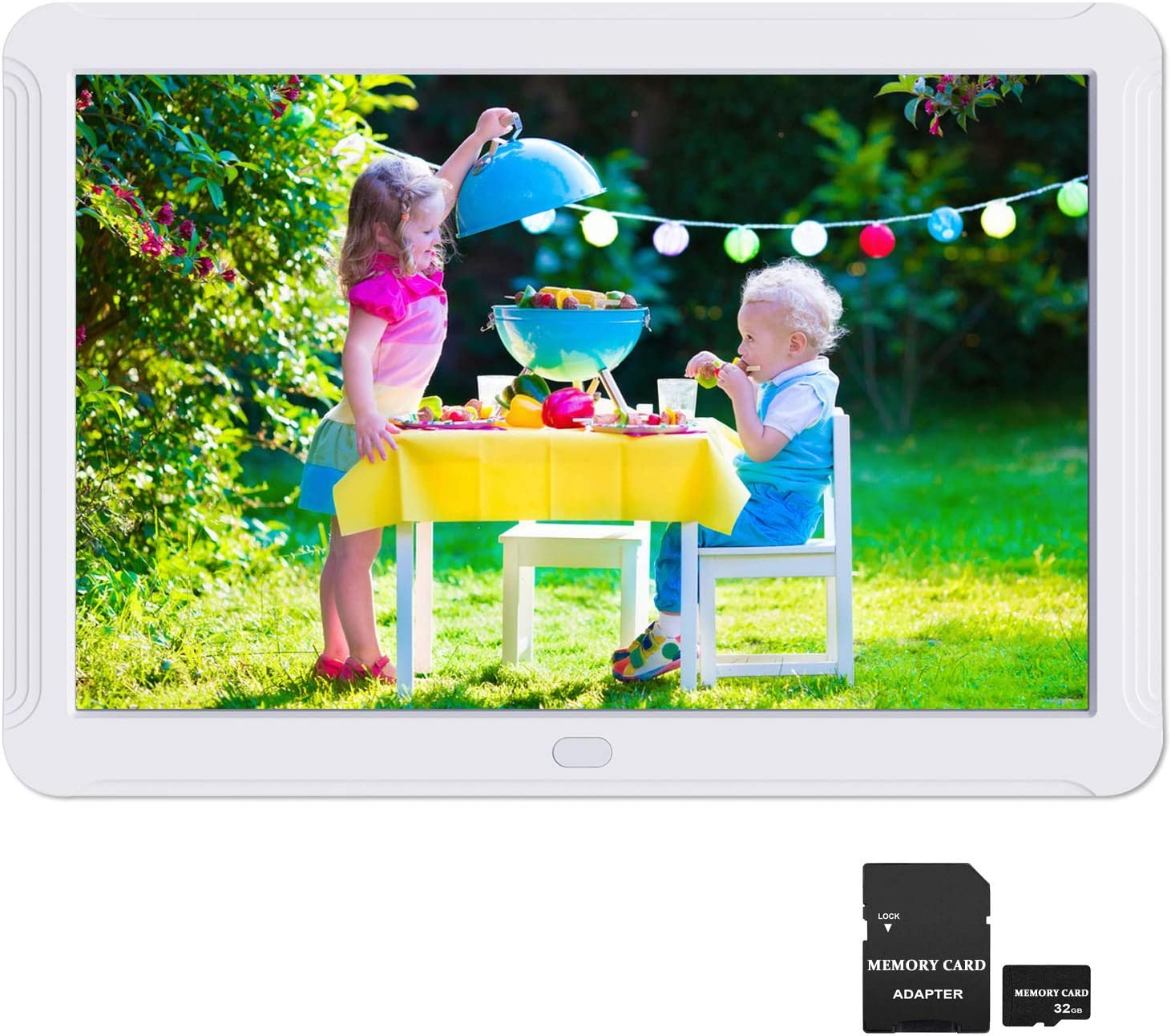 1080P Video Frame Background Music 12 Inch Digital Photo Frame 1920x1080 Motion Detection IPS Screen 16:9 Auto Turn On//Off Auto Play Photo Auto Rotate Include 32GB SD Card