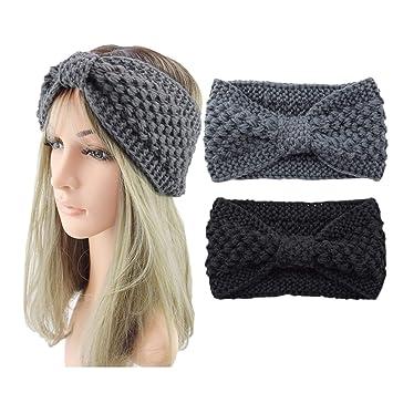 Frauen Damen Winter Wolle Kreuz Häkeln Gestrickte Wolle Stirnband Haarband Neu