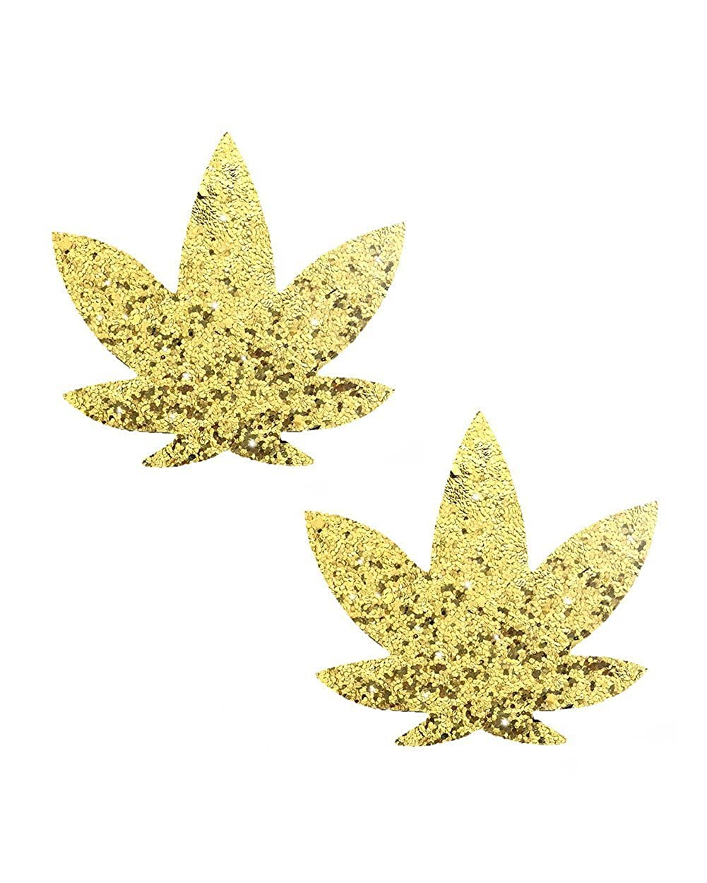 iHeartRaves Pot Leaf Weed Rave Pasties (Set of 2 Pasties) psty-nva-chnwd