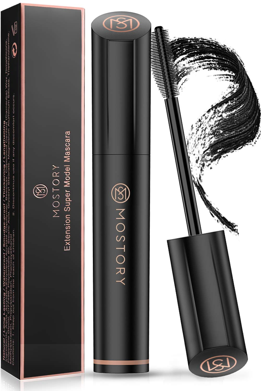 MOSTORY Black Lash Mascara - 4D Silk Fiber Volume Waterproof Natural Extension Mascara